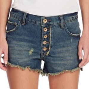 Free People Button Fly Distressed Cut Off Shorts